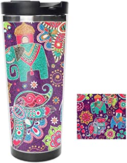 Travel Tumbler - Paisley Elephant Floral Print Stainless Steel Travel Mug & Coffee Cup - Thermal Cup with Splash Proof Sliding Lid - Great Gifts At Christmas, 16oz