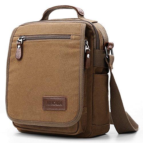 XINCADA Herren Messenger Bag Schultertasche Umhängetasche Cross Body Man Bag Small Satchel for Men, Coffee (Braun)