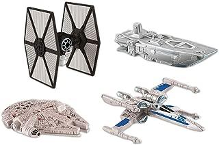 Hot Wheels Star Wars (4 Pack) Spaceship Models Toys Set Figures & Stands Mattel