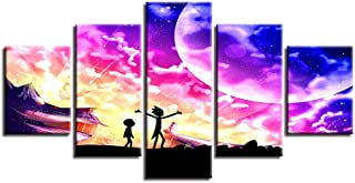 Canvas Wall Art 5 Panel Rick and Morty Character Painting Modular Poster Pictures on Canvas for Home Decor Living Room Framed