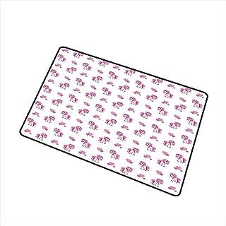 Home Custom Floor mat,Pink Hearts and Magical Pony Horse Kids Girls Design Fairytale Toy Animal Cartoon 20