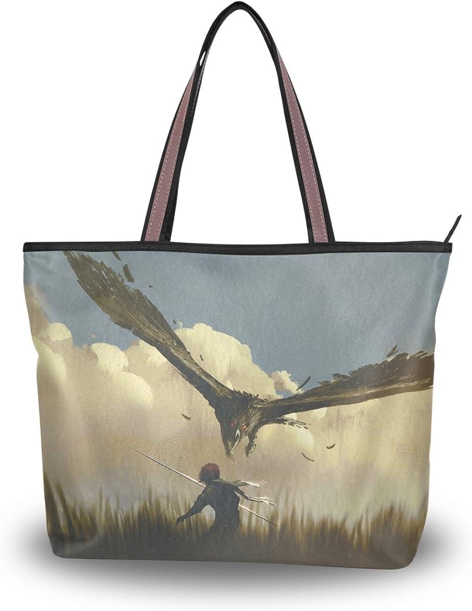 JSTEL Women Large Tote Top Handle Shoulder Bags Eagle Patern Ladies Handbag