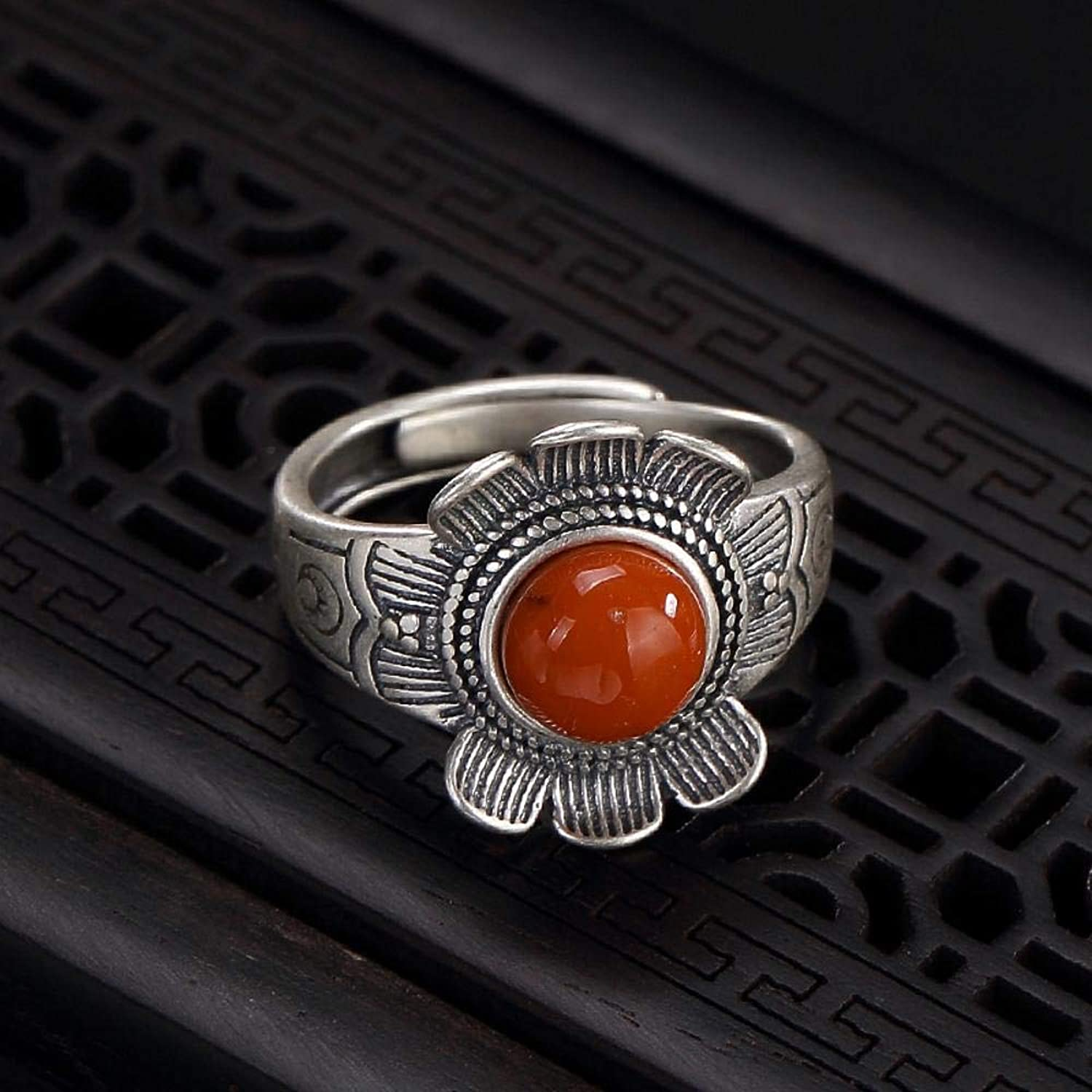 DTZH Rings Jewellery Ring S925 Sterling Silver Inlaid red Agate Retro Matte Female Sun Flower Ring Give it to Dear People