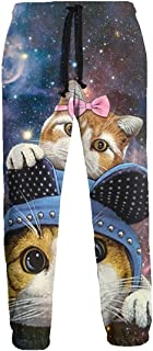 Funny Hats Twin Cat Galaxy Men Casual Active Sports Joggers Pants Trousers Sweatpants Baggy