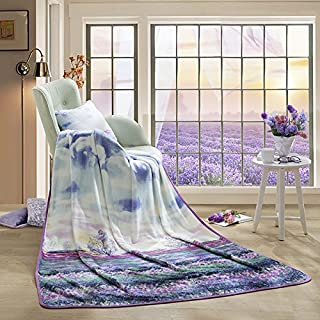 LOVO Flannel Blanket Soft Fleece Lightweight Floral Throw Blanket Twin 60x80 inches, Purple