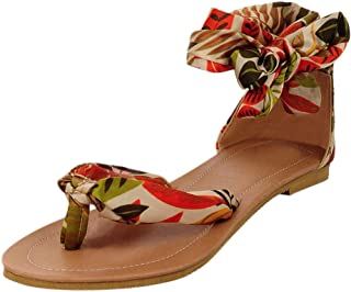 Lurryly Retro Fashion Womens Bohemia Style Lace-Up Flats Shoes Open-Toed Rome Sandals
