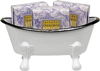 Mini Metal Bathtub Gift Set with 3 Shea Butter Moisturizing Soaps (Lavender Chamomile)