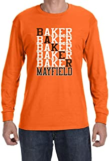 Tobin Clothing Orange Cleveland Mayfield Text Long Sleeve Shirt