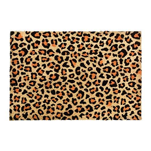 CKB Ltd® estampado de leopardo novedad Felpudo único Doormats Funny puerta delantera/trasera alfombrillas fabricado con un antideslizante de PVC – Fibra de coco natural
