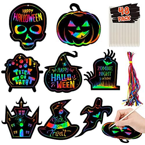 Halloween Crafts Kit for Kids, 48 Set Halloween Crafts Scratch Paper Ornaments, Rainbow Magic...