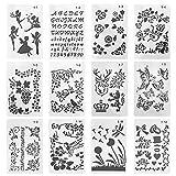 12 Pz Stencil Set con Lettere Fiori e Farfalle, 24.6x16cm Stencil Pittura Modelli Riutilizzabili per Progetti di Scrittura o Decorazioni Artistiche Scrapbooking Fai da Te