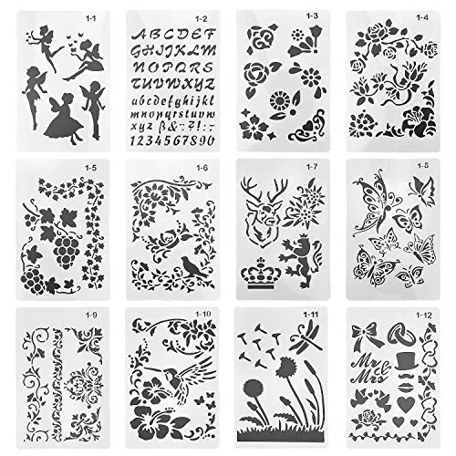 DESON 12 Sheets Plastic Drawing Painting Stencil Set Reusable Drawing Spraying Stencil Drawing Painting Craft Stencils Scale Template Sets for Journal Notebook Diary Scrapbook DIY Card Art Craft