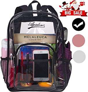 "Clear Backpack, Heavy Duty See Through Backpack, 16"" Transparent Large Backpack for College - Black"