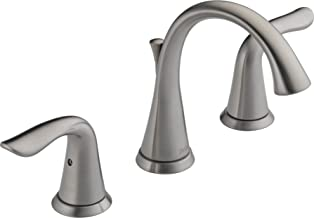 Delta Faucet Lahara 2-Handle Widespread Bathroom Faucet with Diamond Seal Technology and Metal Drain Assembly, Stainless 3538-SSMPU-DST