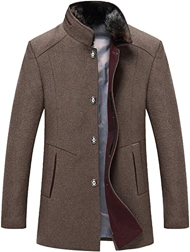 Tefamore Trench Décontracté Hommes Manteau Mode d'affaires à Long Thicken Slim veste Pardessus(Café,Medium)