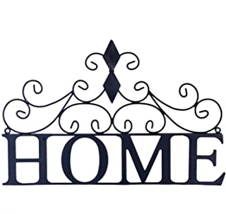 Kleanner Scrolled Home Word Wall Decor, Metal Wall Mounted Plaque Door Art Sign, Decorative Hanging Wall Ornament for Bedroom, Living Room, Dining Room, Black