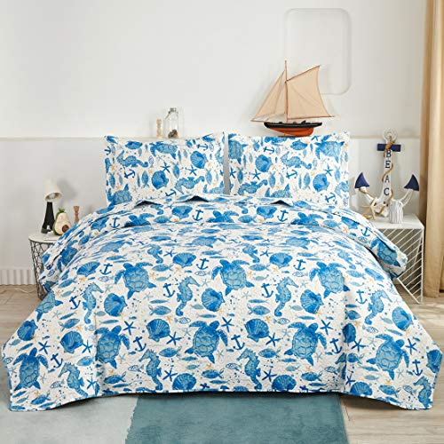 Oliven Marine Life Bedding Turtle Quilt King Size Coastal Bedspread Beach Sea Turtle Seahorse Shell Starfish Anchor Ocean Coverlet Daybed Cover Beach Theme Bedroom Decor