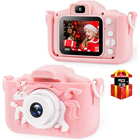 Pink Bcamelys Kids Digital Camera Dual Cameras Video Recorder with 32GB Memory Card for Boys and Girls
