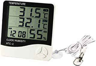 uxcell HTC-2 Digital Hygrometer Indoor Thermometer Humidity Monitor Humidity Gauge with Clock & Calendar