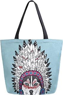 Mnsruu Bolso de hombro de lona, bolso de mano para mujer, bolso bandolera para compras, Husky Dog Portrait con tocado indio nativo americano, bolso de playa multifunción, para mujer