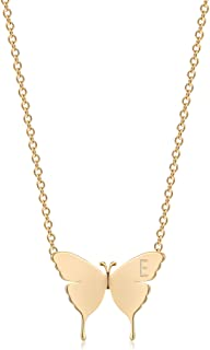WEARON Gold Dainty Butterfly Necklace,18K Gold Plated Tiny Butterfly Charm Necklace Initial Necklace Butterfly Pendant Nec...