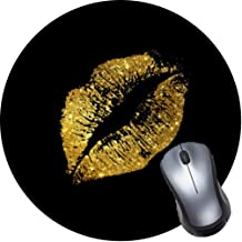 Gaming Mouse Pad, Round Mouse Mat, Non-Slip Rubber Base Desktop Mousepad with Stitched Edge, Small Size 7.9 x 7.9 x 0.1 Inch-Gold Glitter Lips