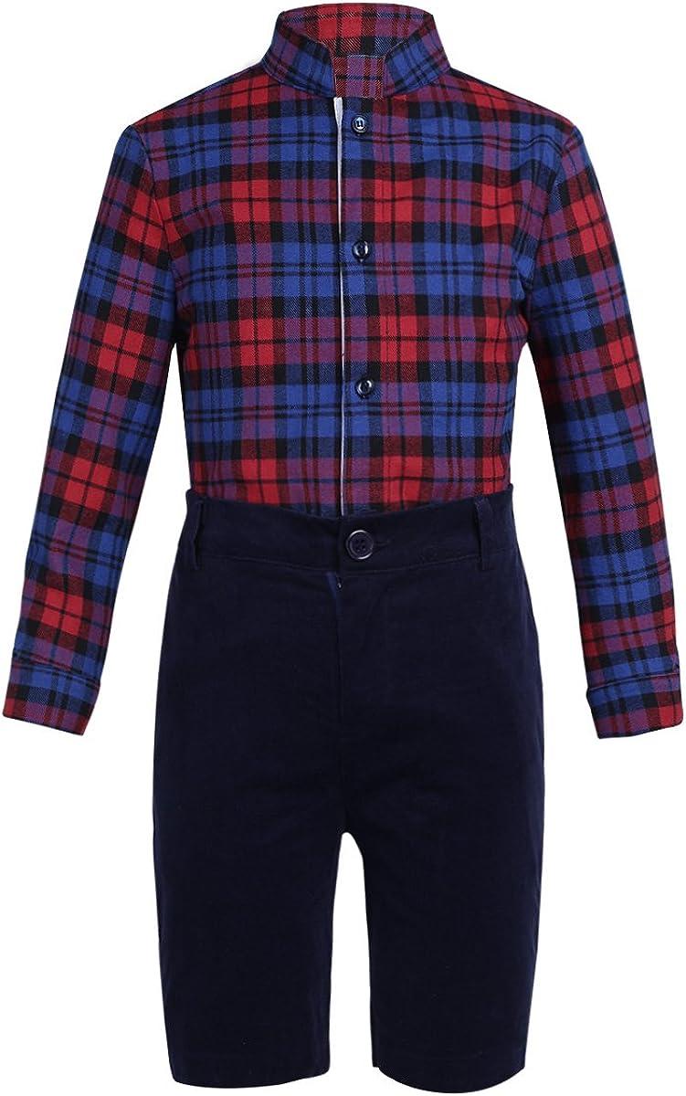 iiniim Kids Boys Two Piece Plaids Outfit Toddler Lapel Collar Long Sleeve Shirt with Corduroy Shorts Set