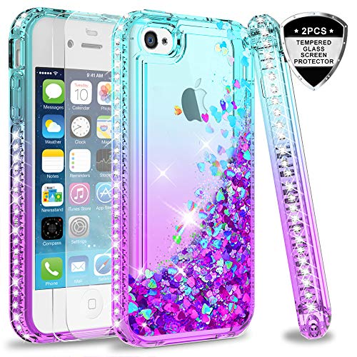 LeYi Compatible for LeYi iPhone 4S Case with Tempered Glass Screen Protector [2 Pack] for Girls Women, Cute Glitter Moving Quicksand Clear Protective Phone Case Cover for iPhone 4/ 4S/ 4G,Teal/Purple