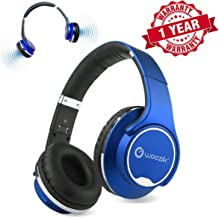 Bluetooth Headphones, Wireless Speakers, Woozik Twist Over Ear 2 in 1 Hybrid Headset with Built-in FM Radio, Micro-SD Card Slot, AUX (Blue)