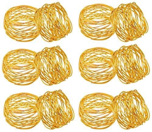 SKAVIJ Gold Metallmaschen Serviettenringe Hochzeit Dekoration für Tisch (12 stück)