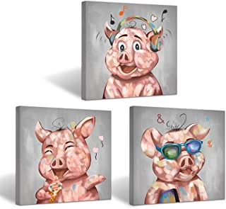 Visual Art Decor Animals Painting Happy Pigs Canvas Poster Piggy Picture Giclee Prints Gallery Wrap Ready to Hang Children Bedroom Play Room Decoration (24