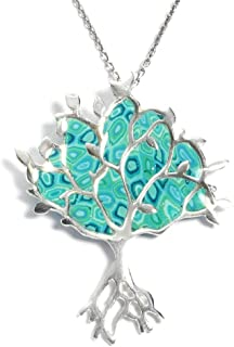 925 Sterling Silver Tree of Life Necklace Pendant Polymer Clay Handmade Jewelry, 16.5