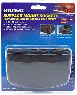 Narva Surface Mount Volt Meter & Twin Accessory Socket for Caravan RV 81190BL