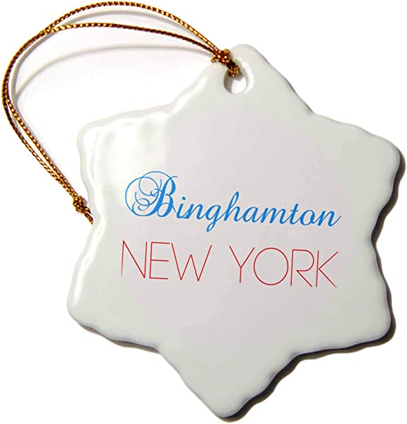 3dRose Alexis Design American Cities Nevada New York Binghamton New York Blue Red Text Patriotic USA Home Town Gift 3 Inch Snowflake Porcelain Ornament ORN 300596 1