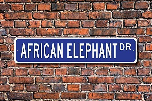 TNND Placa de calle con elefante africano, señal de regalo de animales nativos africanos, cartel de calle, 10 x 40 cm