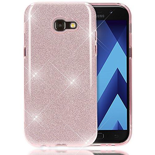 NALIA Handyhülle kompatibel mit Samsung Galaxy A5 2017, Glitzer Slim Silikon-Case Back-Cover Schutzhülle, Glitter Sparkle Handy-Tasche Bumper, Dünne Bling Strass Smart-Phone Hülle, Farbe:Pink