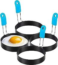 Large 4'' Egg Rings, Anti-scald Egg Molds Set of 4 - Stainless Steel Non-stick Round Egg Cooker Ring (Oil Brush Included)...