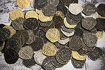 Metal Pirate Coins -100 Gold and Silver Spanish Doubloon Replicas - Fantasy Metal Coin Pirate Treasure - Gold Silver Antique and Rustic Style Finishes by Beverly Oaks