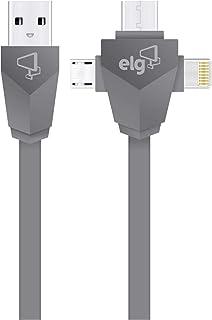 CABO 3EM1 PARA RECARGA E SINCRONIZAÇÃO - APPLE LIGHTNING + USB TIPO-C + MICRO USB - 1, 5M - PW31C - ELG, Elg, PW31C, Cinza