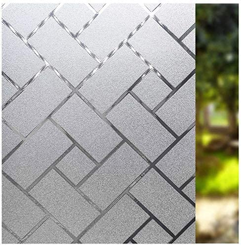 Glightor Window Film Privacy Static Clings Herringbone Glass Film Frosted Window Stickers for product image