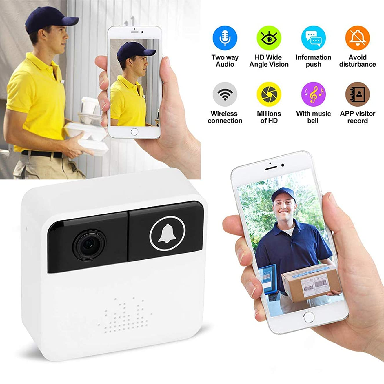X&LFC Home Security Video Doorbell, Security Monitoring System Real-Time Video and Two-Way Conversation,for iOS and Android