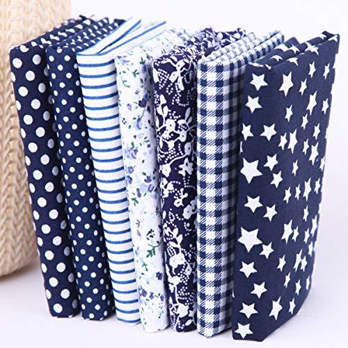 Jennary Baumwollstoff Meterware Stoffpaket zumNähen - Patchwork Stoffe DIY Handgefertigte Baumwolle Baumwolltuch 7 Stücke 50 x 50 cm