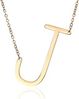 Rinhoo Sideways Large Initial Necklace Gold Big Letter Script Name Stainless Steel Pendant Monogram Necklace for Women Gift(from Alphabet 26 A-Z)