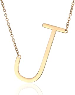 Gmai Women's Classic Stainless Steel Big Letter Necklace Initial Chain Script Pendant Name Necklace Sideways large Initial Necklace for Women Gift(Gold Letters A-Z Available) (Gold J)