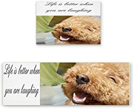 KRWHTS 2 PCS Kitchen Mat Non-Slip Doormat Bathroom - Smiling Teddy Life is Better When You are Laughing 16X24in(40x60cm)+16X48in(40x120cm)