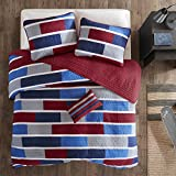 MI ZONE Bradley Reversible Soft Brushed Microfiber Patchwork Quilt Coverlet Bedspread Bedding Set, Full/Queen, Navy/Red