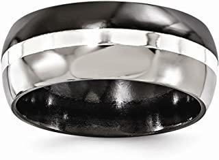 FB Jewels Edward Mirell Black Titanium w Sterling Silver Inlay Brushed & Polished 9mm Ring
