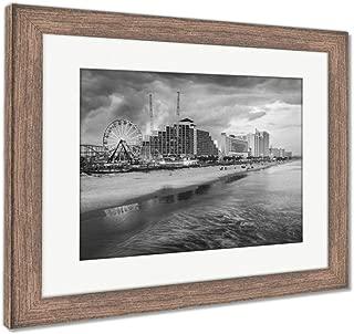 Ashley Framed Prints Daytona Beach Skyline, Wall Art Home Decoration, Black/White, 34x40 (Frame Size), Rustic Barn Wood Frame, AG5919823