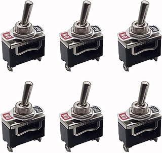 Shuny 6 Stück Kippschalter Schalter Wippschalter AC250V 10A, Schüttelkopf Wippschalter, 2 Pin SPST EIN/AUS Schalter Metallschläger, Hochleistungs Flachfuß Kippschalter, für Auto Auto Truck Boat