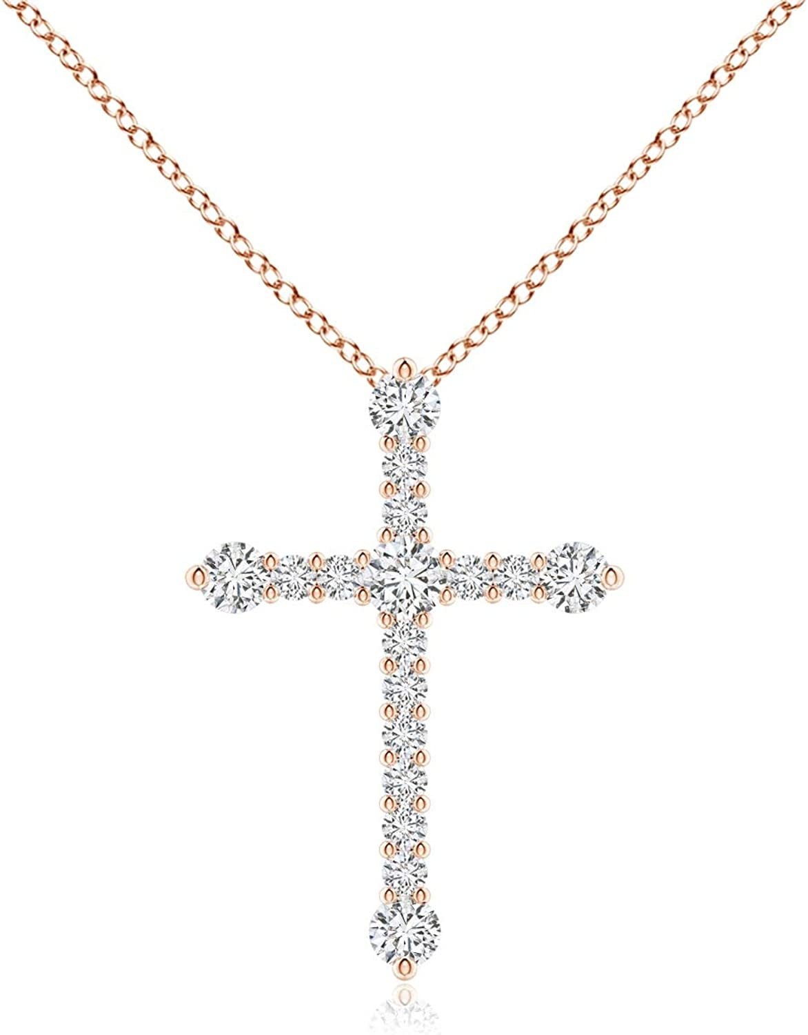 Prong-Set Diamond Limited time sale Ranking TOP19 Budded 2.4mm Pendant Cross